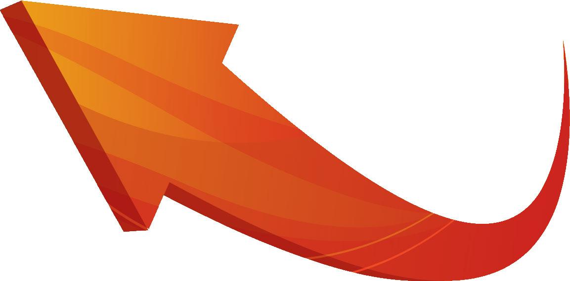 矢印イラスト黄 立体曲線 無料のフリー素材
