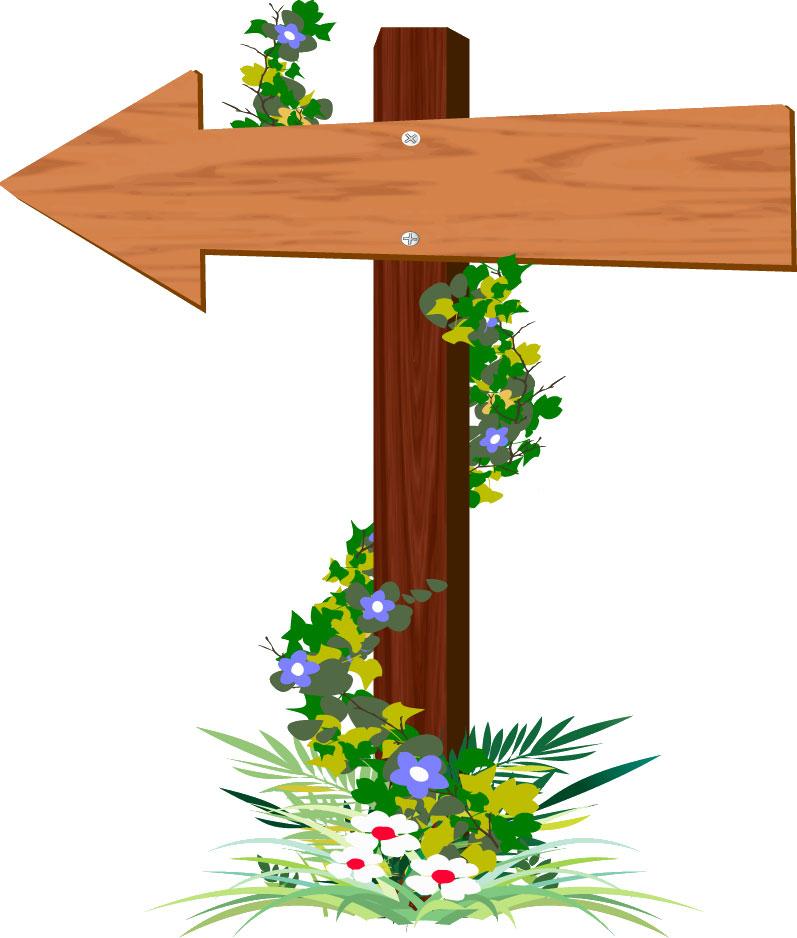 矢印イラスト林の立て札 西 無料のフリー素材