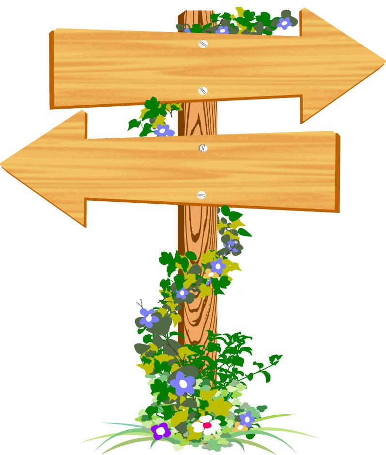 矢印イラスト木製立て札と草花 無料のフリー素材