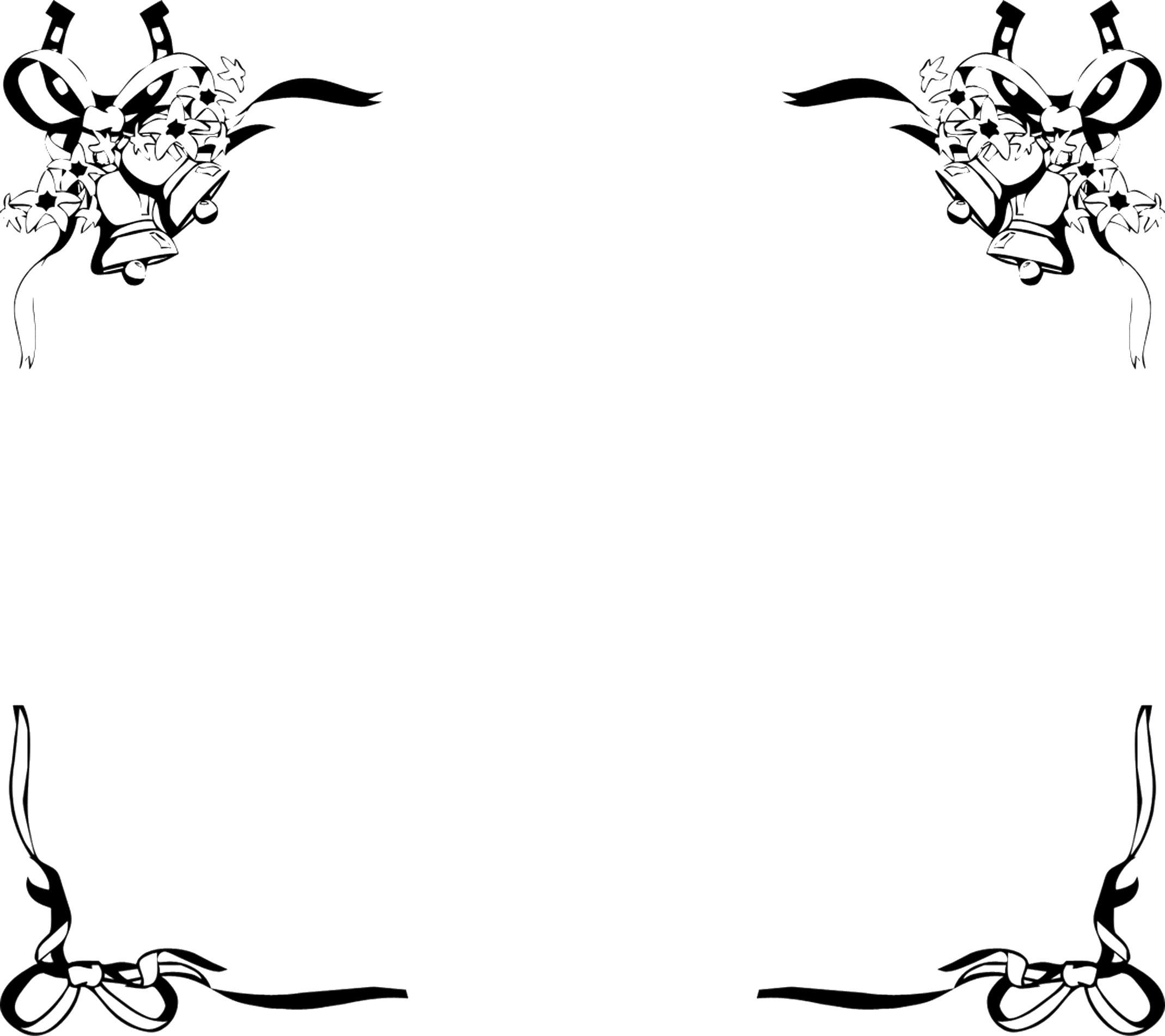 無料のフリー素材 - フレーム枠・タイトル「ベルとリボン」