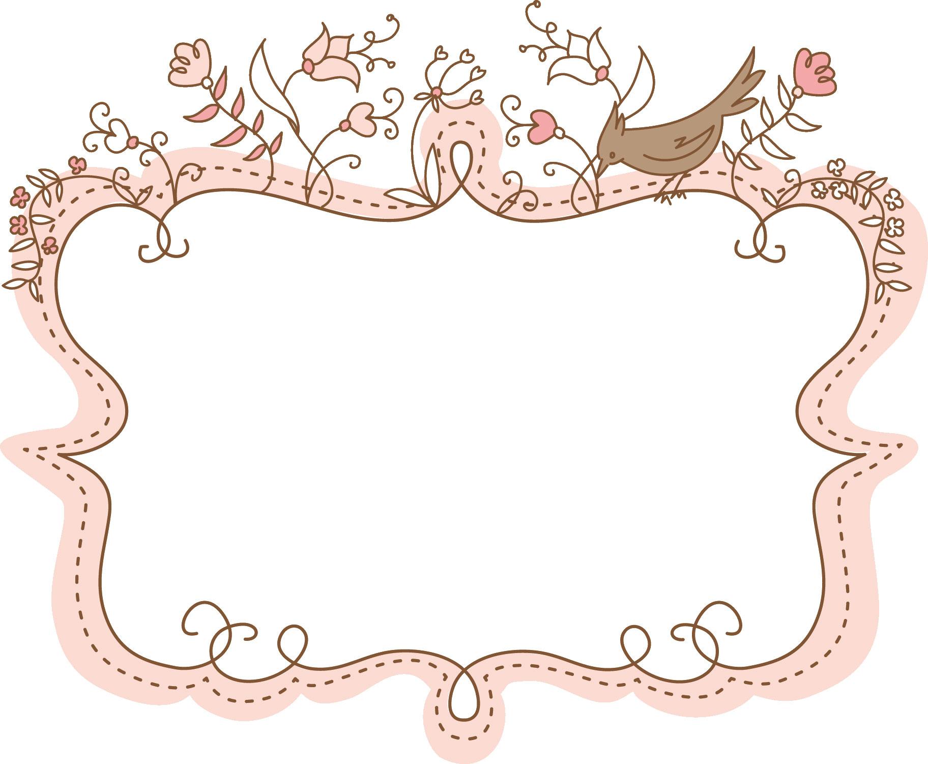 フレーム・囲い枠のイラストno.184『草花と鳥・手書き風』/無料のフリー