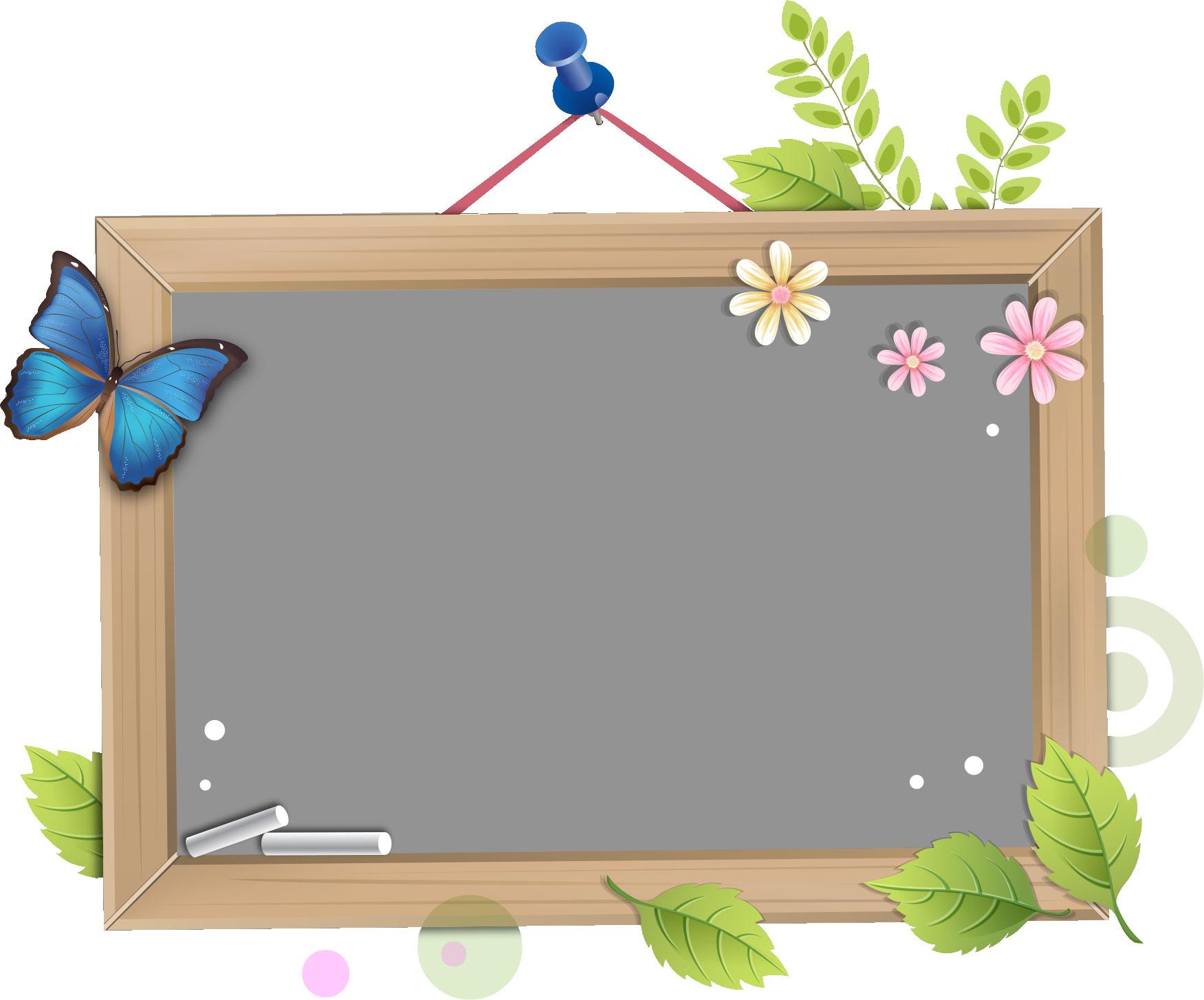 フレーム囲い枠のイラストno375黒板フレーム木枠無料のフリー