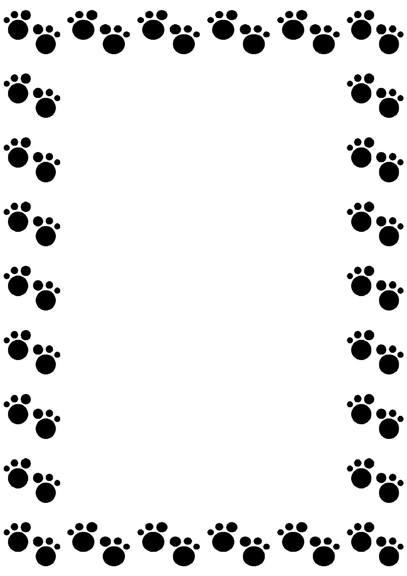 無料のフリー素材 - フレーム枠・タイトル「動物の足跡(黒)」