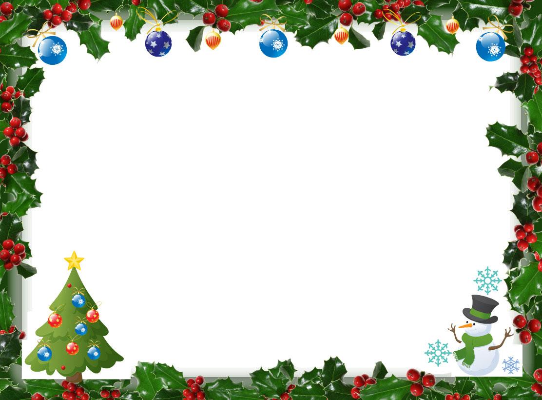 無料のフリー素材 - フレーム枠・タイトル「クリスマスと雪だるま」