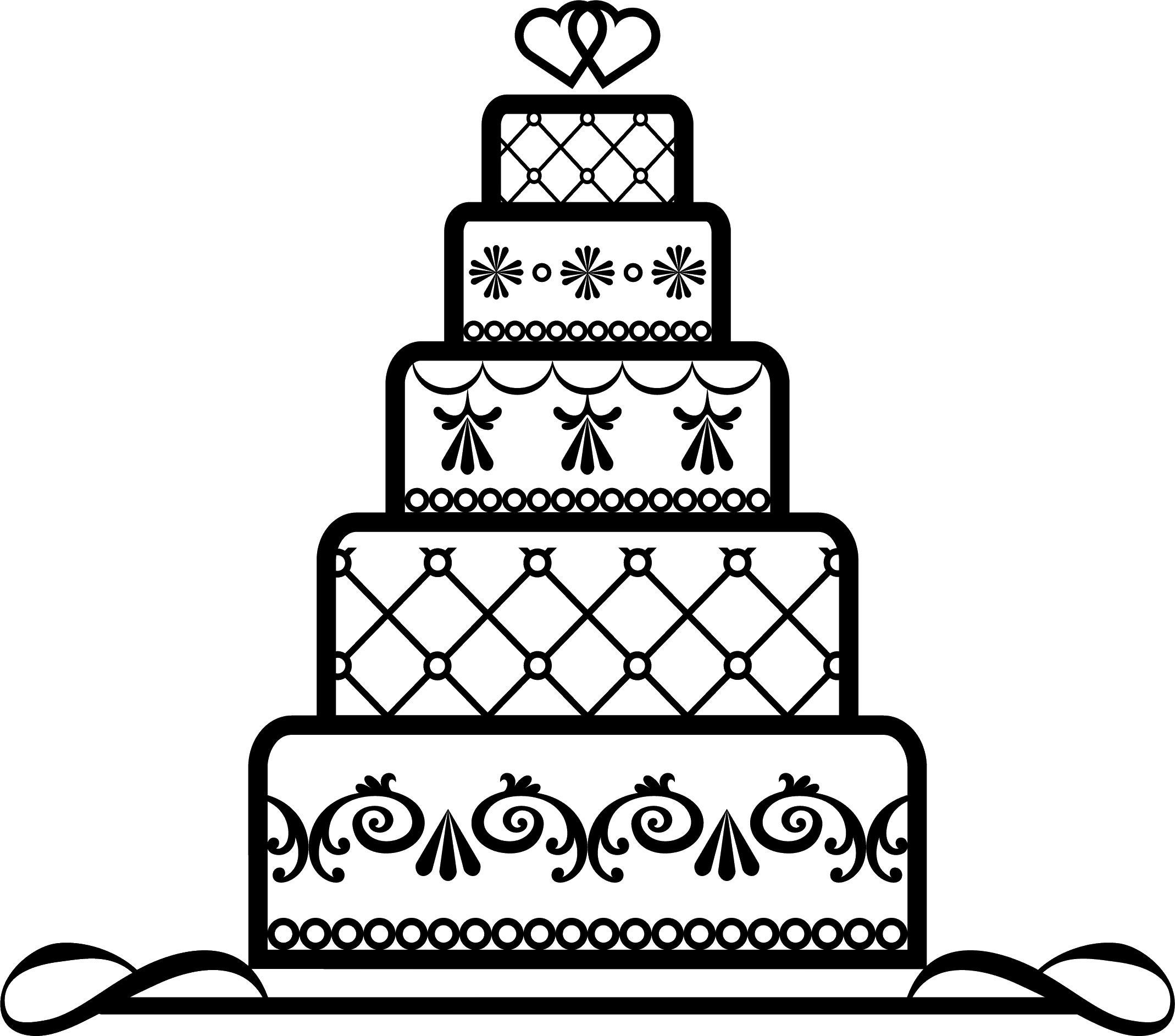 寄せ書きデザイン - イラスト素材「バースデーケーキ-白黒」