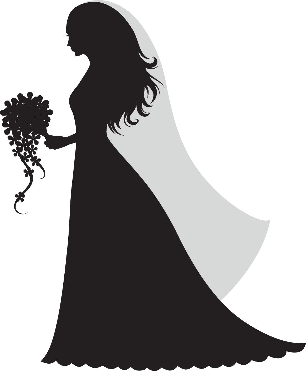 寄せ書きデザイン - イラスト素材「花嫁シルエット」