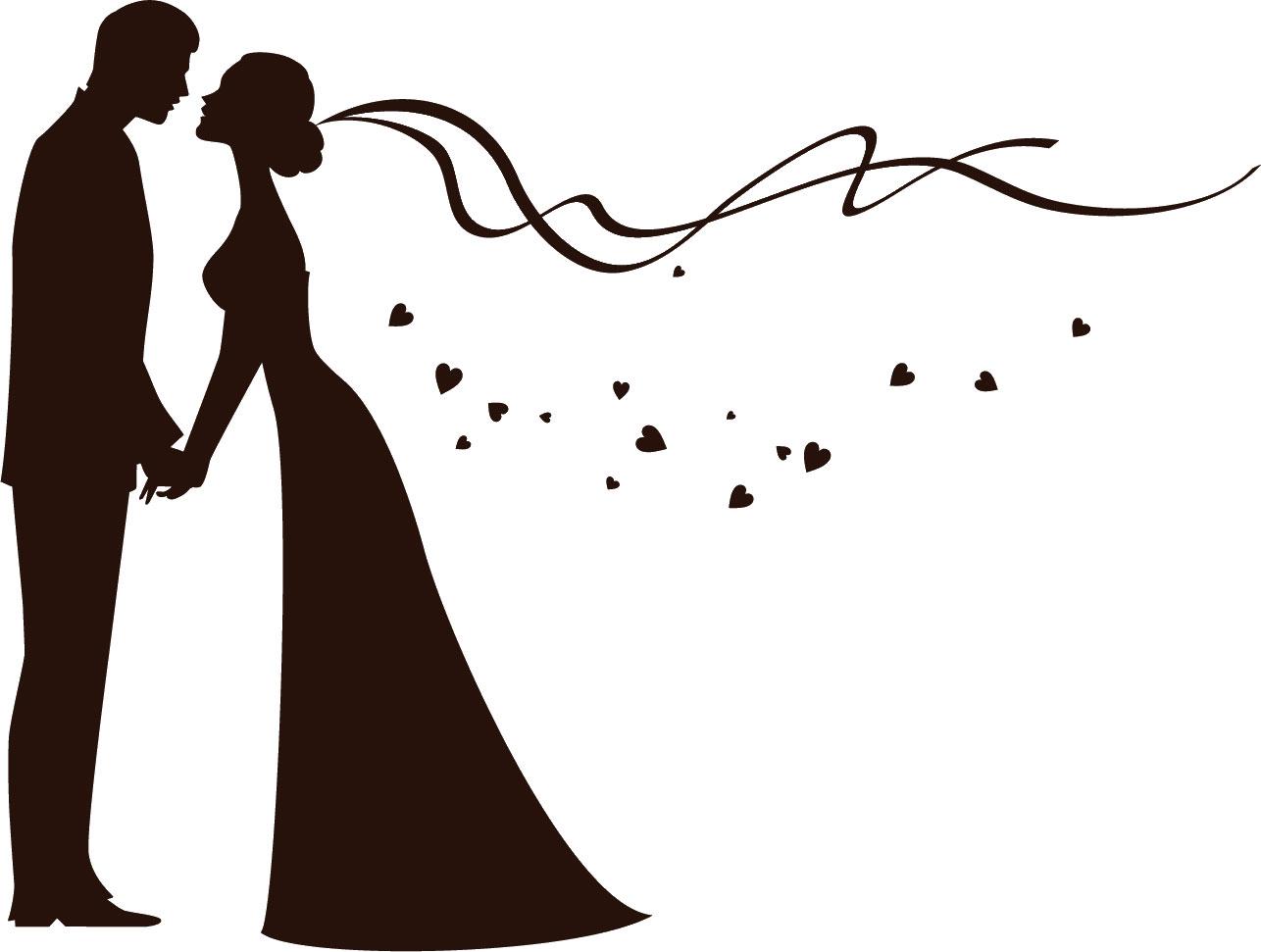 寄せ書きデザイン - イラスト素材「花嫁花婿シルエット」