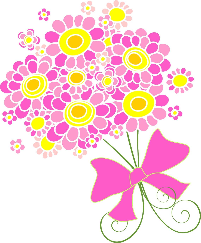 寄せ書きデザイン イラスト素材ポップな花束2