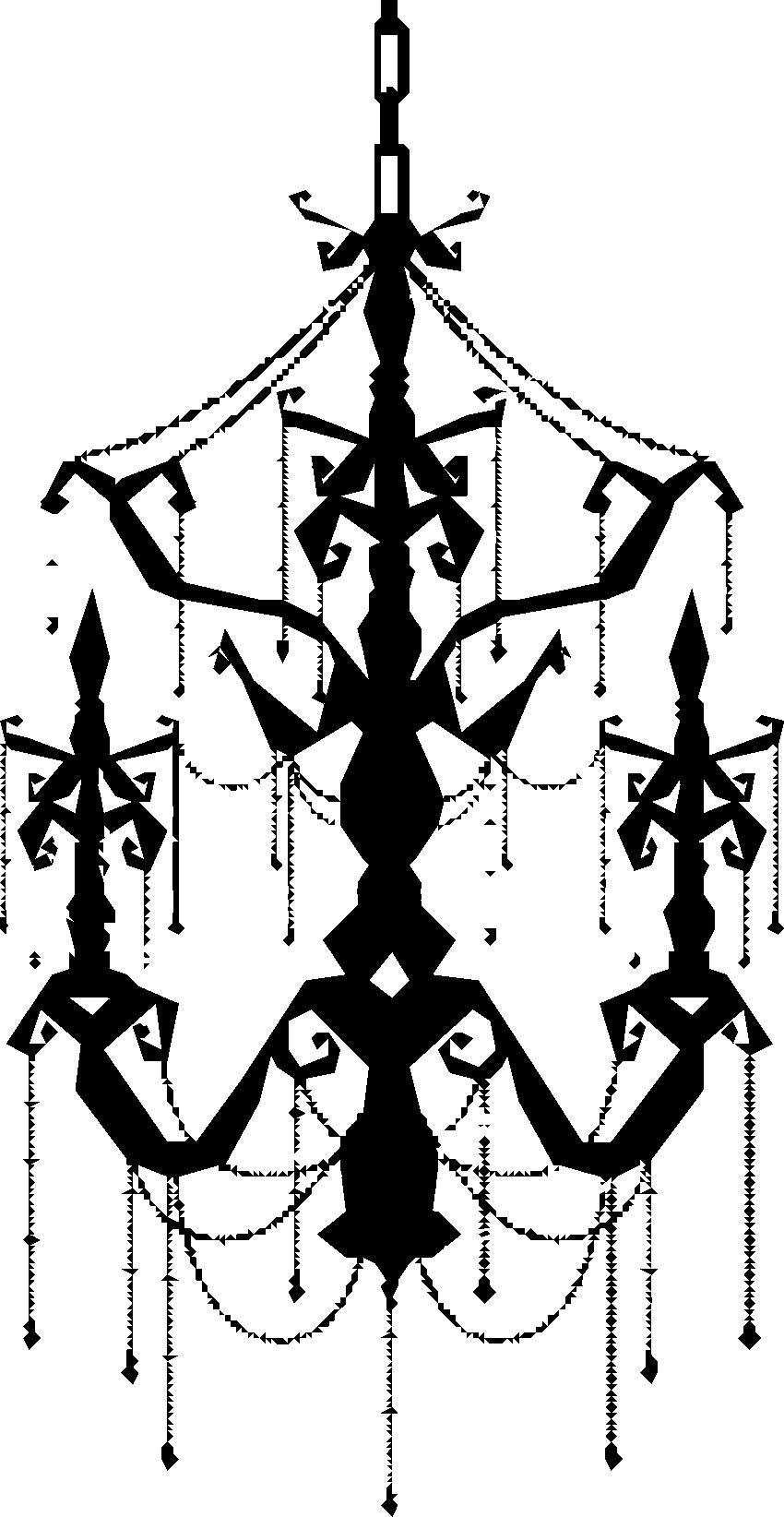寄せ書きデザイン イラスト素材シャンデリア 黒