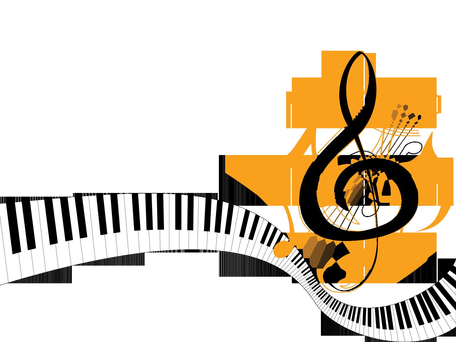 音符イラスト「ピアノの鍵盤と音符」- 無料のフリー素材