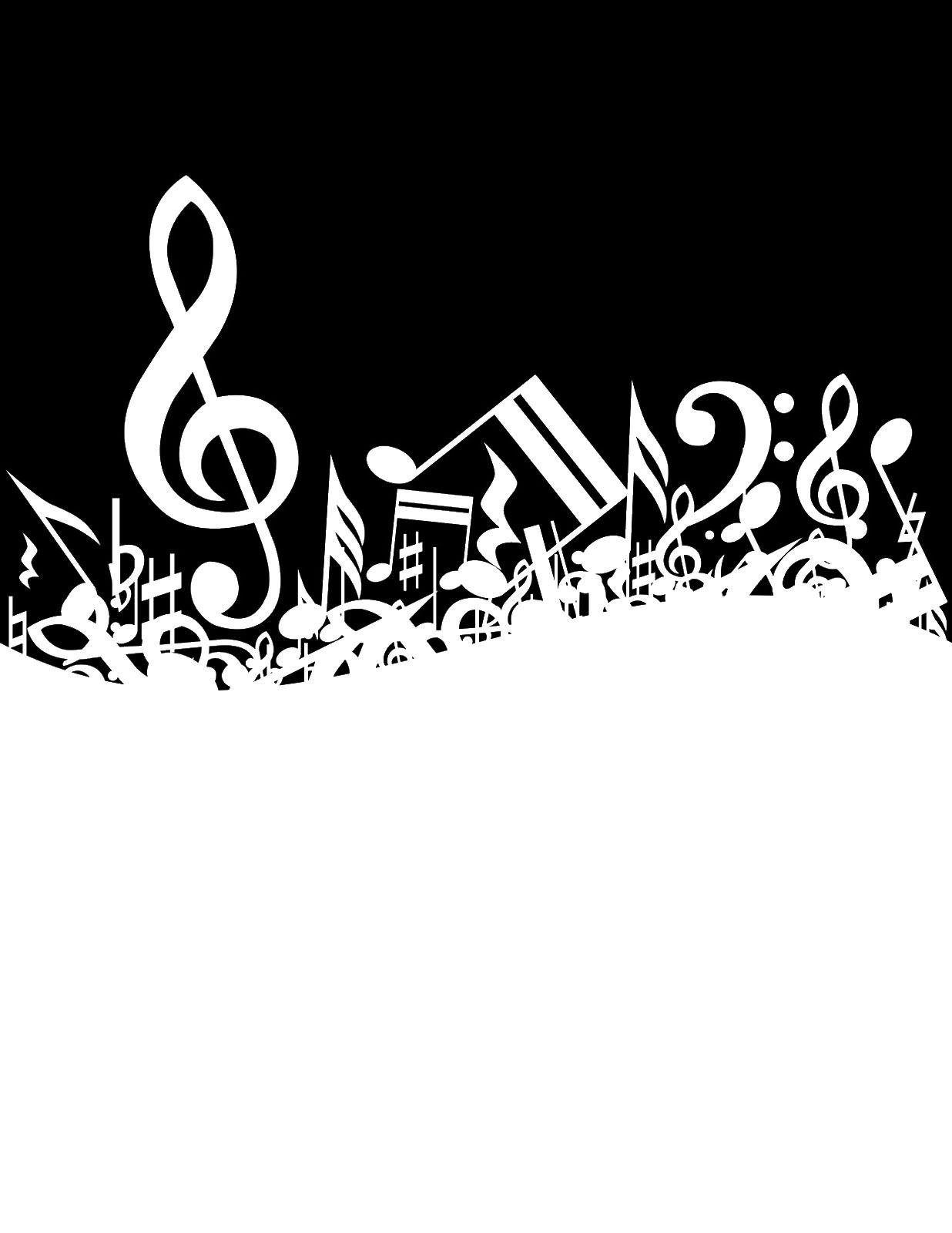 音符イラスト 埋もれた音符と記号 無料のフリー素材