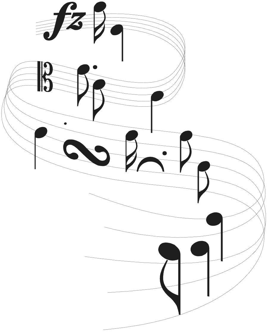 音楽・音符イラスト素材「流れる音符と音楽記号」 音符イラスト「流れる音符と音楽記号」- 無料のフ