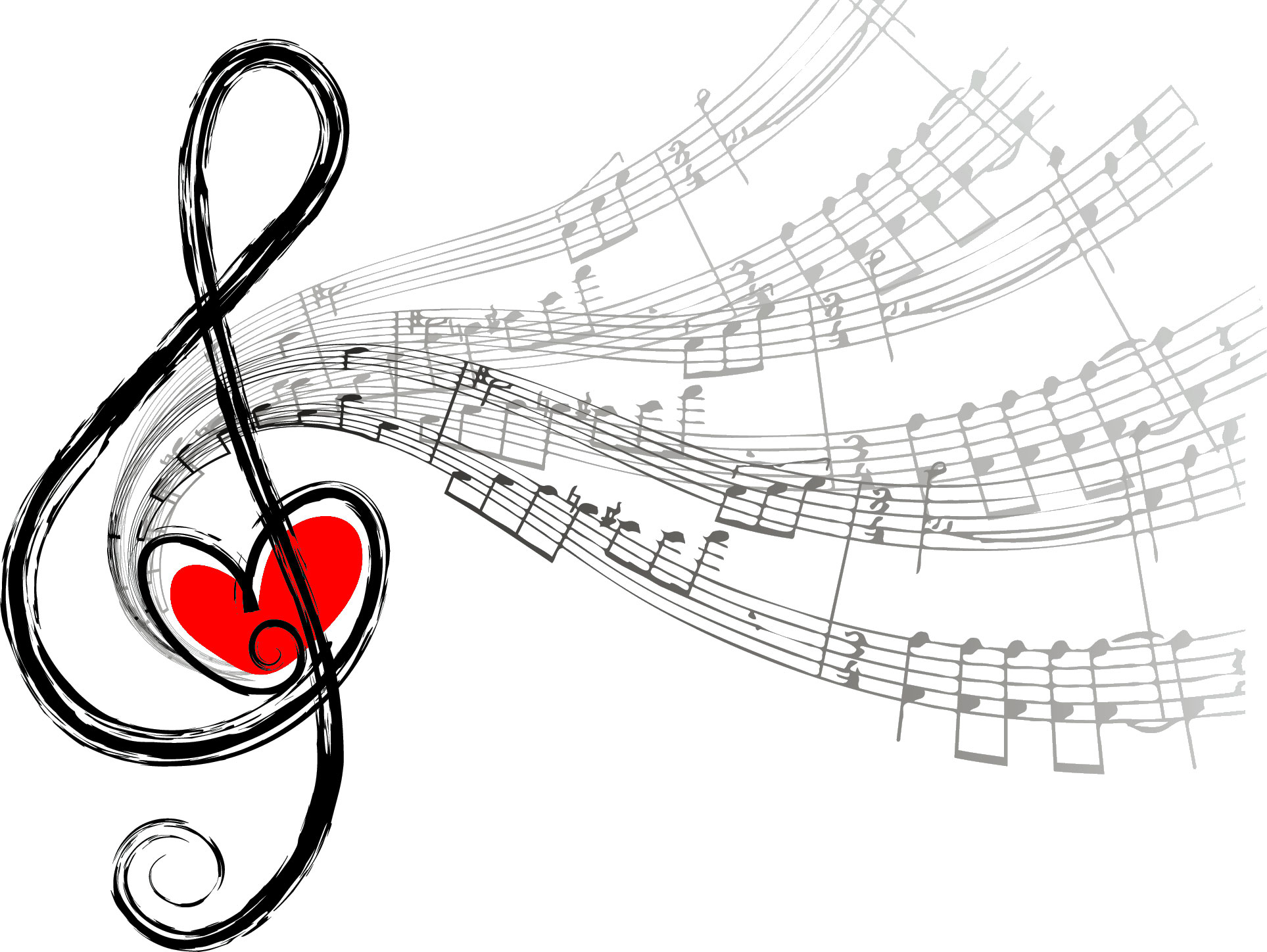 音符イラスト「楽譜とハートマーク」- 無料のフリー素材