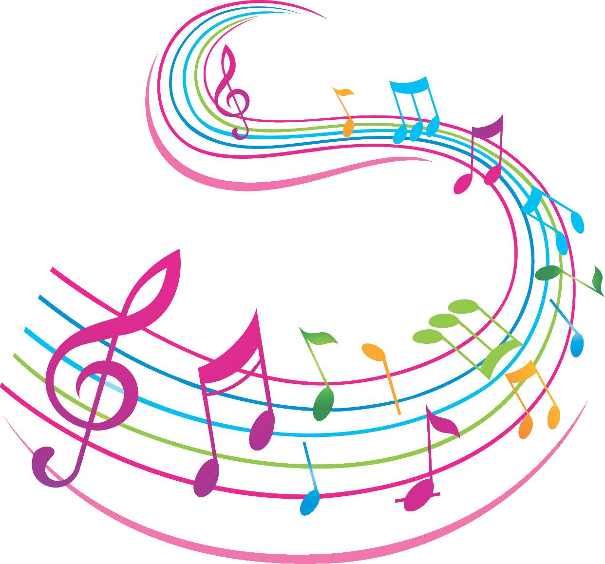 音符イラスト流れる楽譜 カラフル 無料のフリー素材