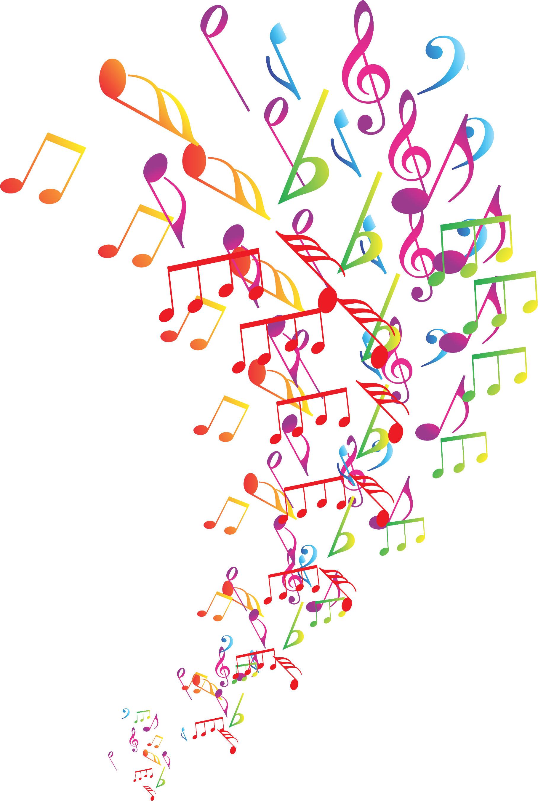 音符イラスト広がる音符 カラフル 無料のフリー素材