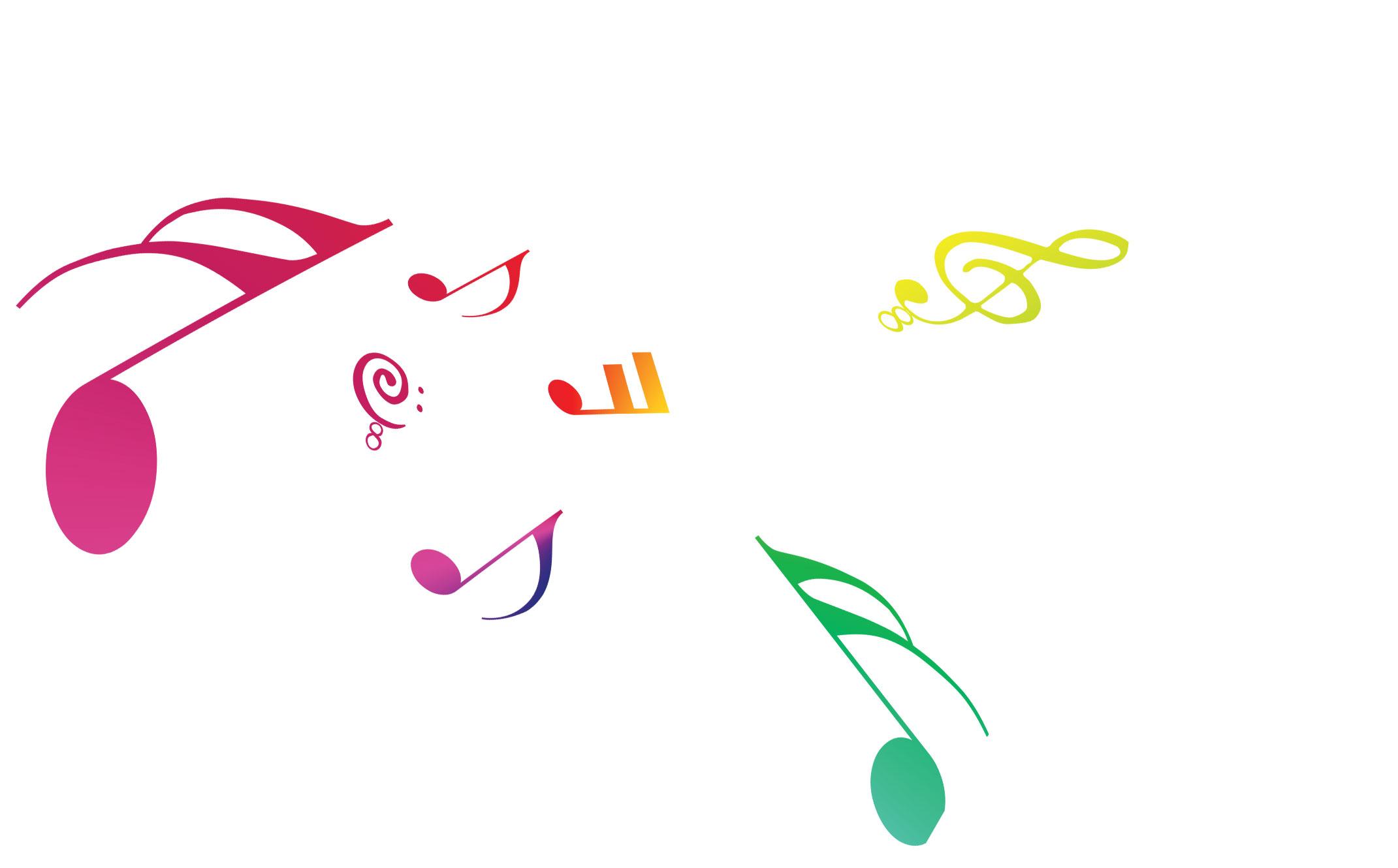 音符イラスト音符と音楽記号 虹色 無料のフリー素材