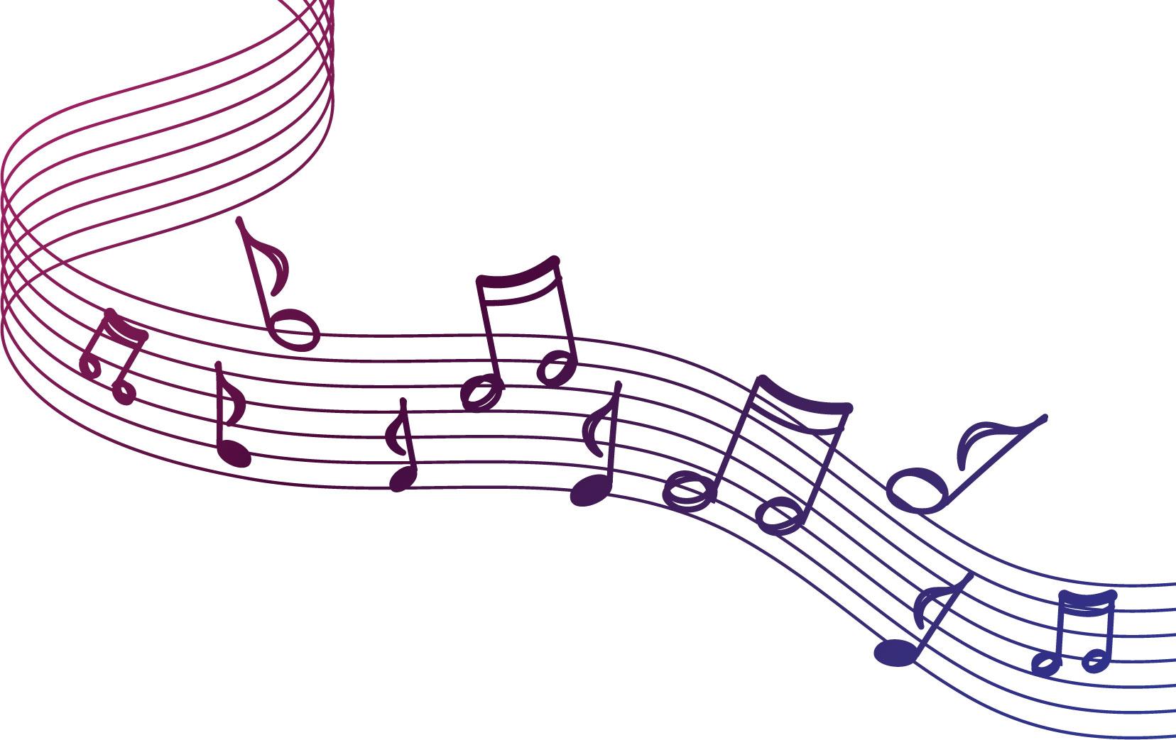 音符イラスト手書き風の楽譜と音符 無料のフリー素材