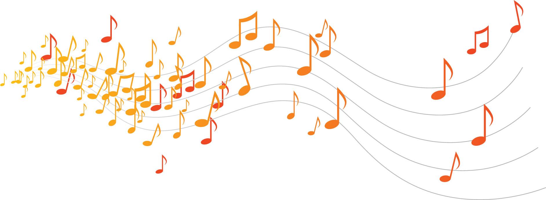 音楽・音符イラスト素材「流れる音符-暖色」