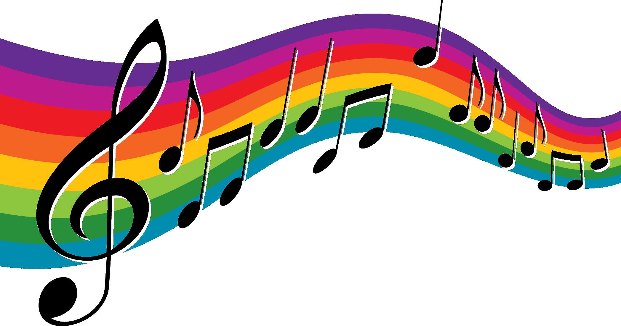音楽・音符イラスト素材「音符と虹色の楽譜2」