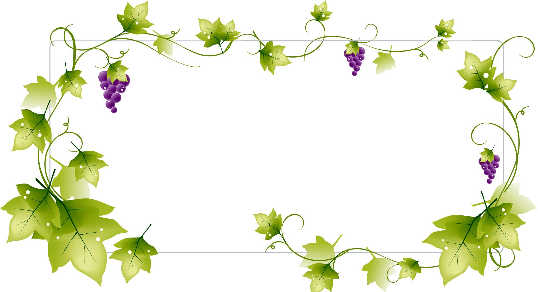 秋のイラストno.377『フレーム:ブドウのつる』/無料のフリー素材集