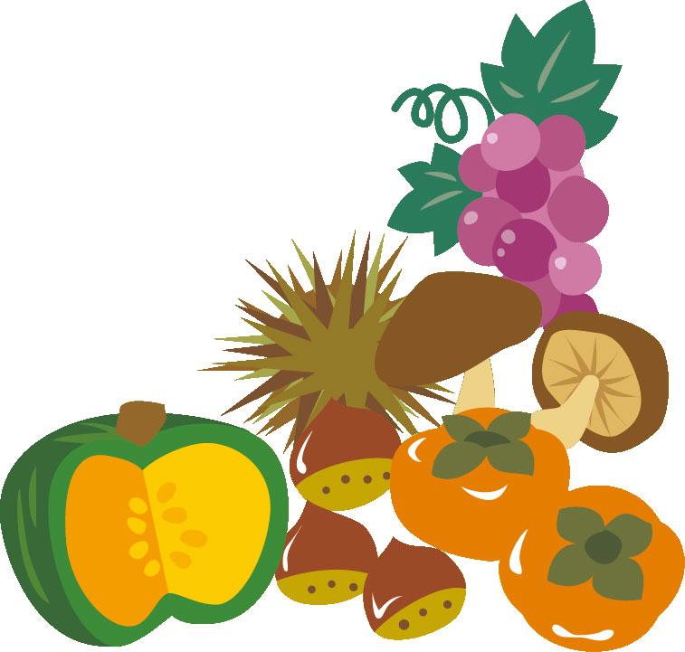 秋のフリーイラスト素材,食欲の秋・野菜果物