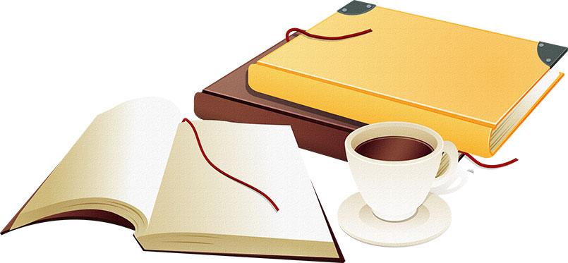 秋の画像サンプル-本とコーヒーカップ