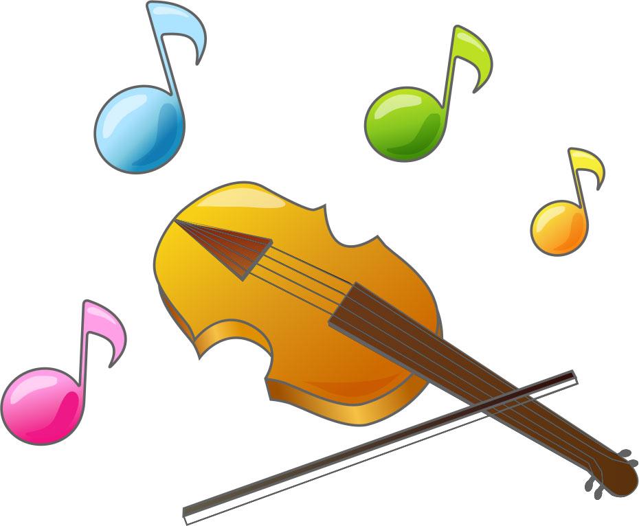 秋の画像サンプル-バイオリンと音符