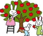 秋のフリーイラスト-林檎狩り・うさぎ・木
