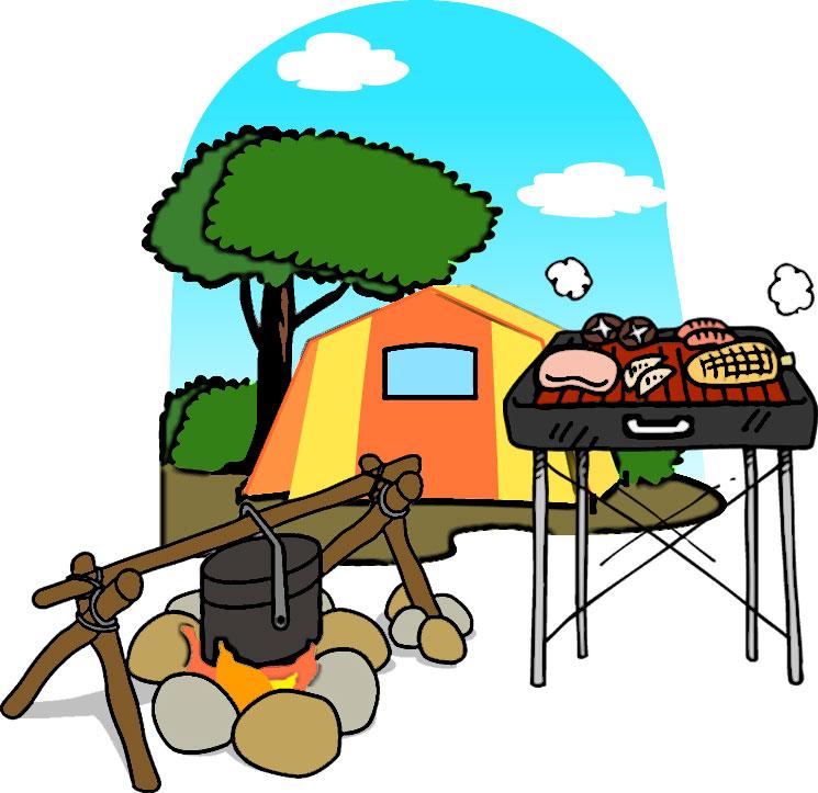 キャンプのイラストNo.38『キャンプイメージ』/無料のフリー素材集【花鳥風月】