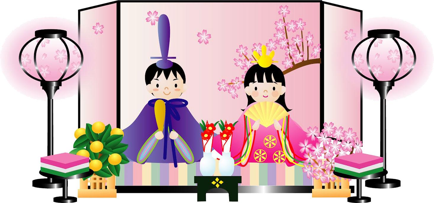 3月のイラストNo.004『ひな人形-...