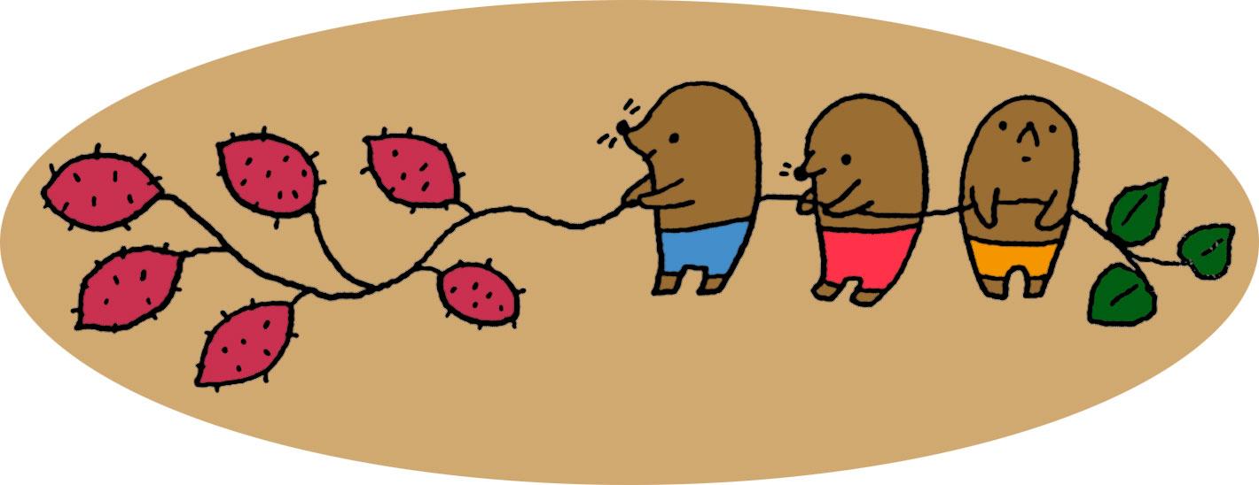 10月のイラストno 013 もぐらの芋掘り 無料のフリー素材集 花鳥風月
