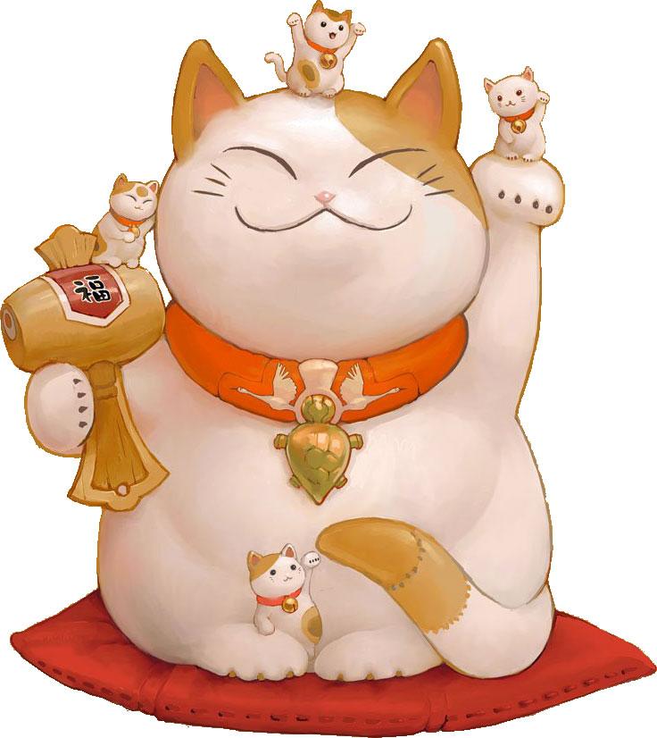 画像サンプル-招き猫-親子