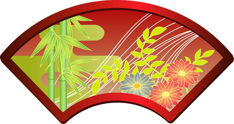 画像サンプル-扇子-竹と花