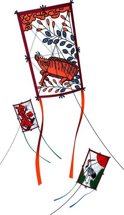 画像サンプル-凧上げ-猪鹿鳥