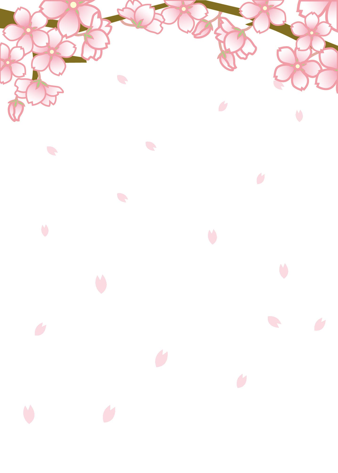 春のイラストno 157 舞い散る桜 壁紙にも 無料のフリー素材集