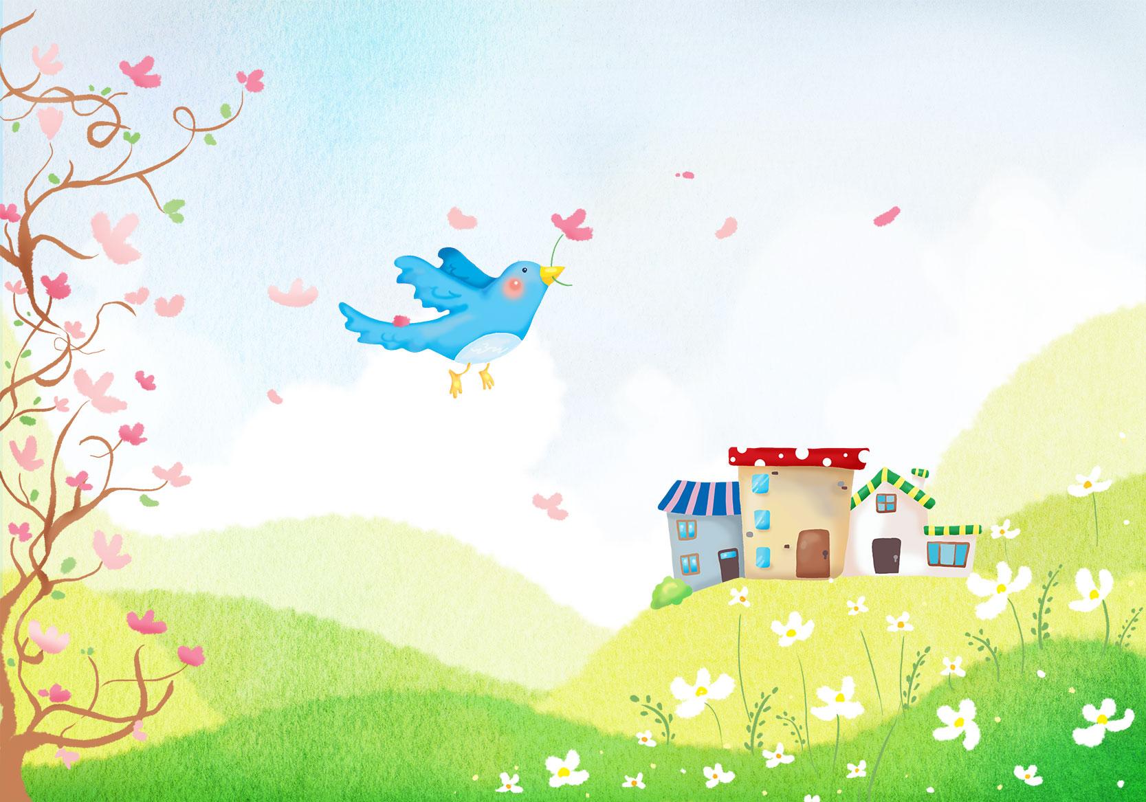 春の画像サンプル-春の草原 春のイラストNo.118『春の草原』/無料のフリー素材集【花鳥風月】