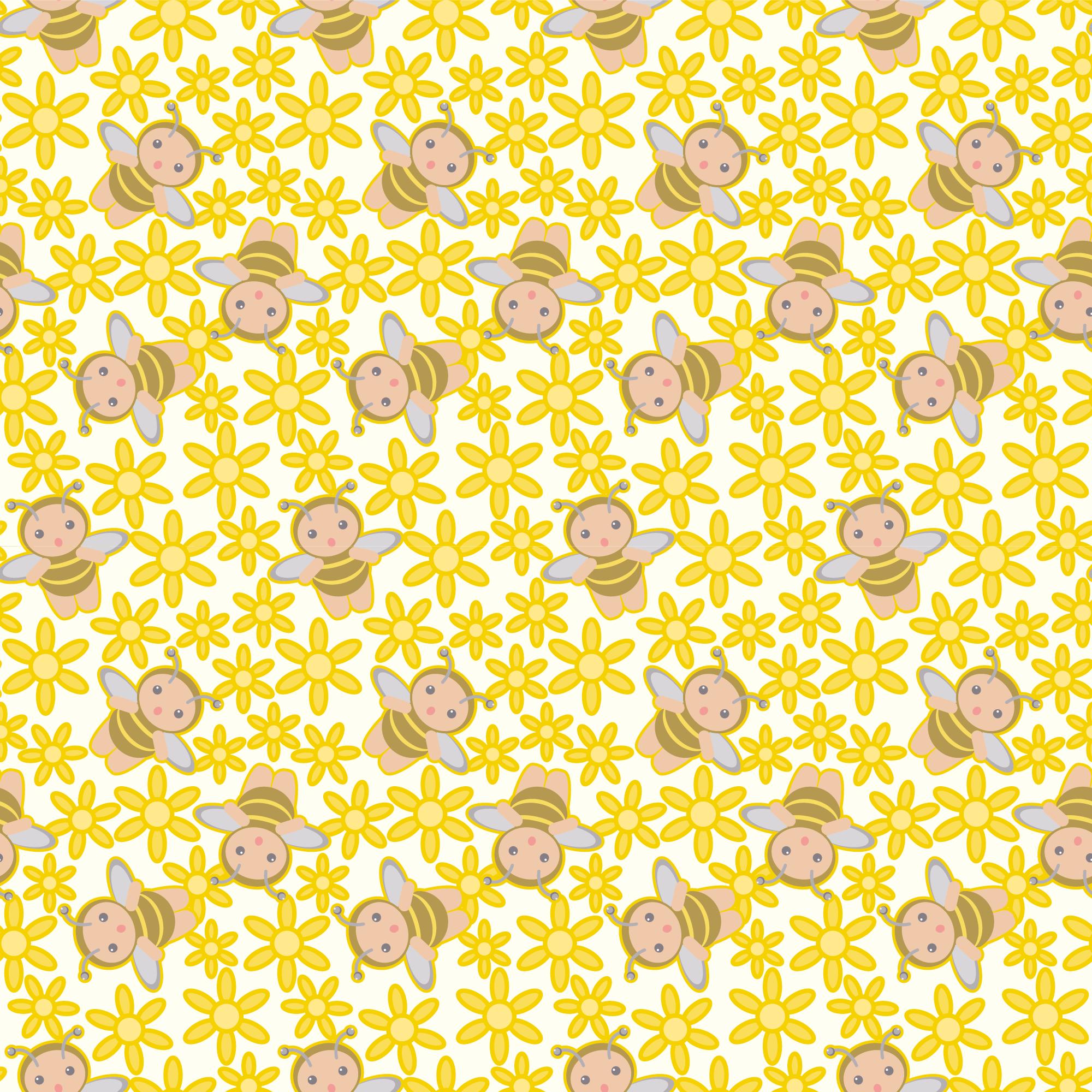 春のイラストno 180 壁紙 花とミツバチ 無料のフリー素材集