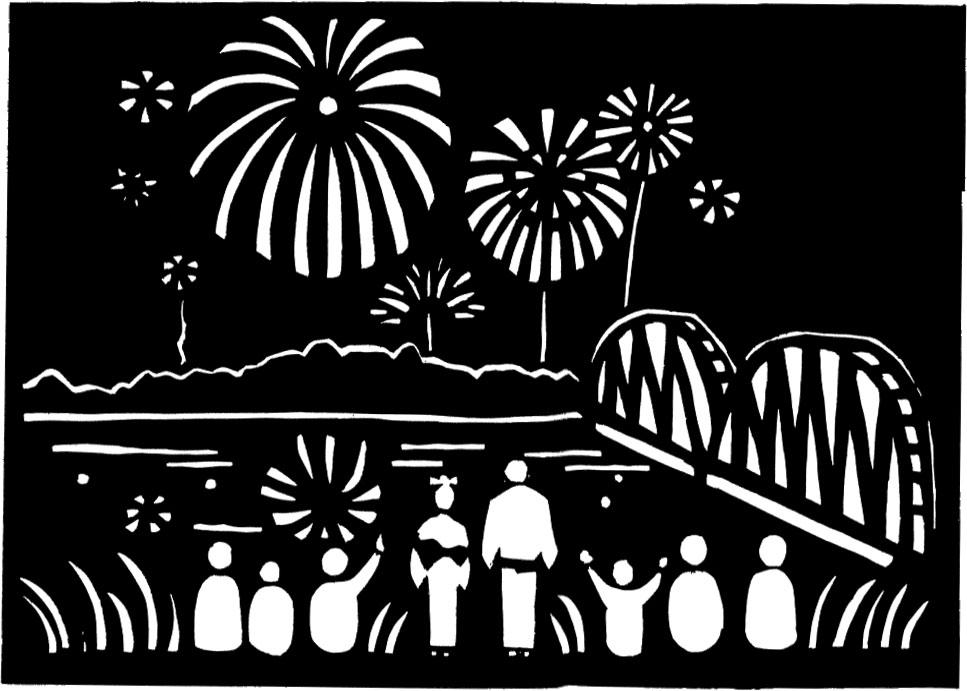 夏のイラストno 179 白黒花火 切り絵風 無料のフリー素材集 花鳥風月