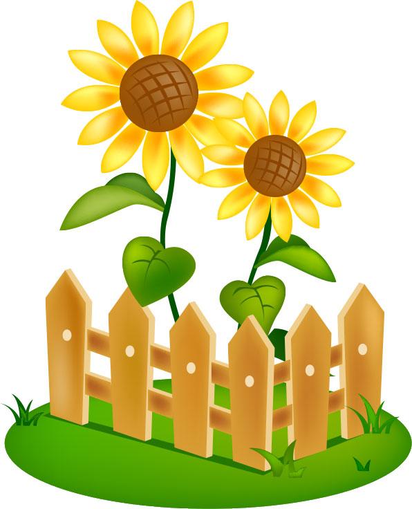 夏のフリーイラスト素材,向日葵