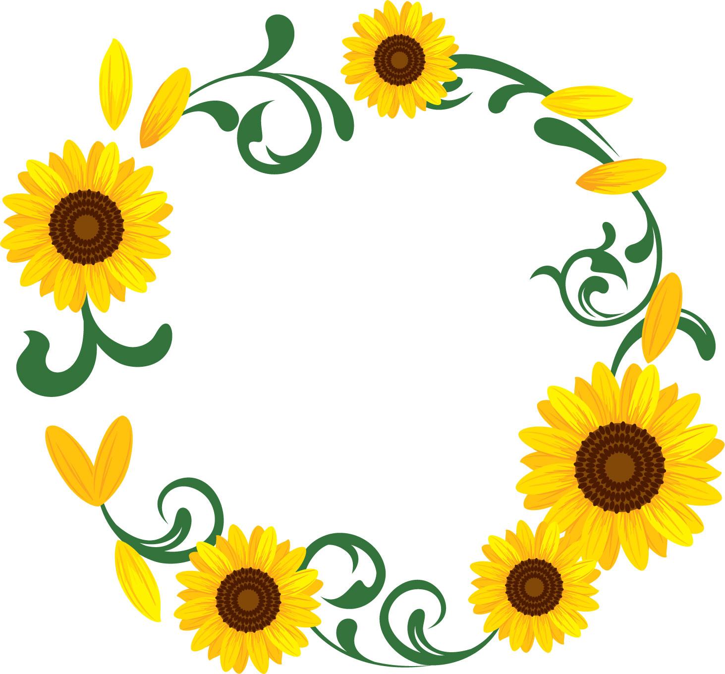 夏の無料イラスト素材,飾り枠・向日葵の輪