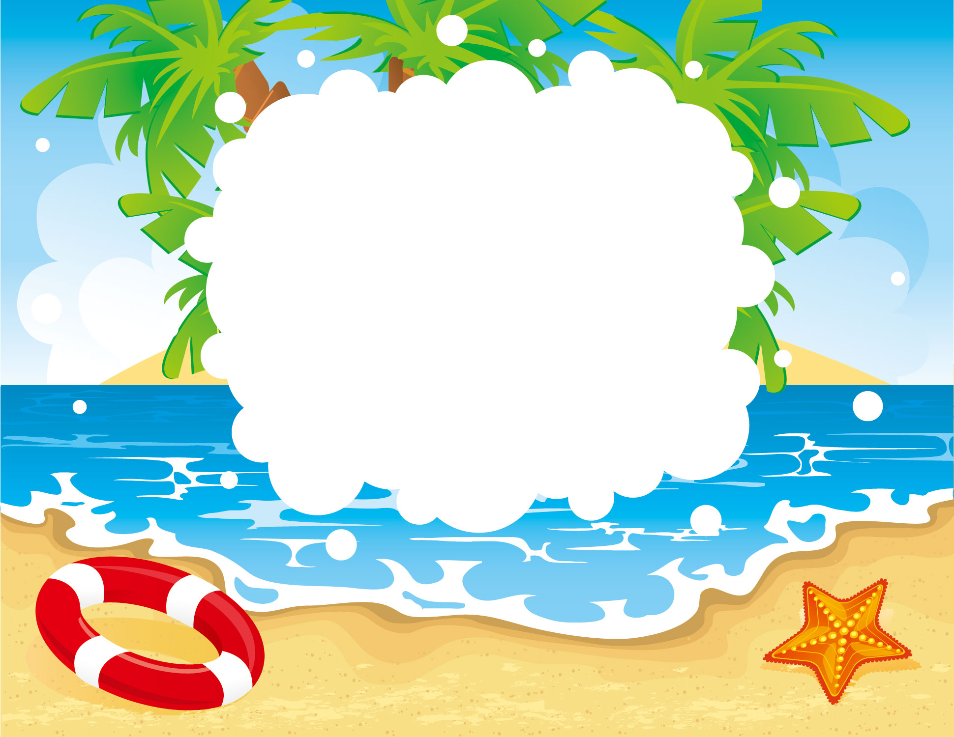 夏のイラストno.456『ビーチフレーム』/無料のフリー素材集【花鳥風月】