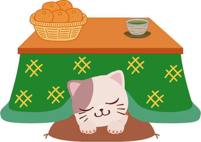 画像サンプル-コタツと猫とミカン