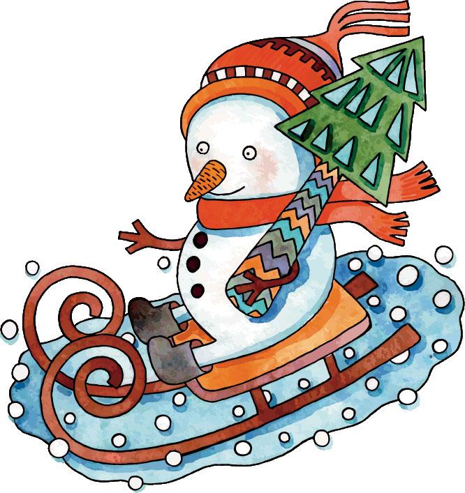 冬の画像サンプル-そりに乗る雪だるま