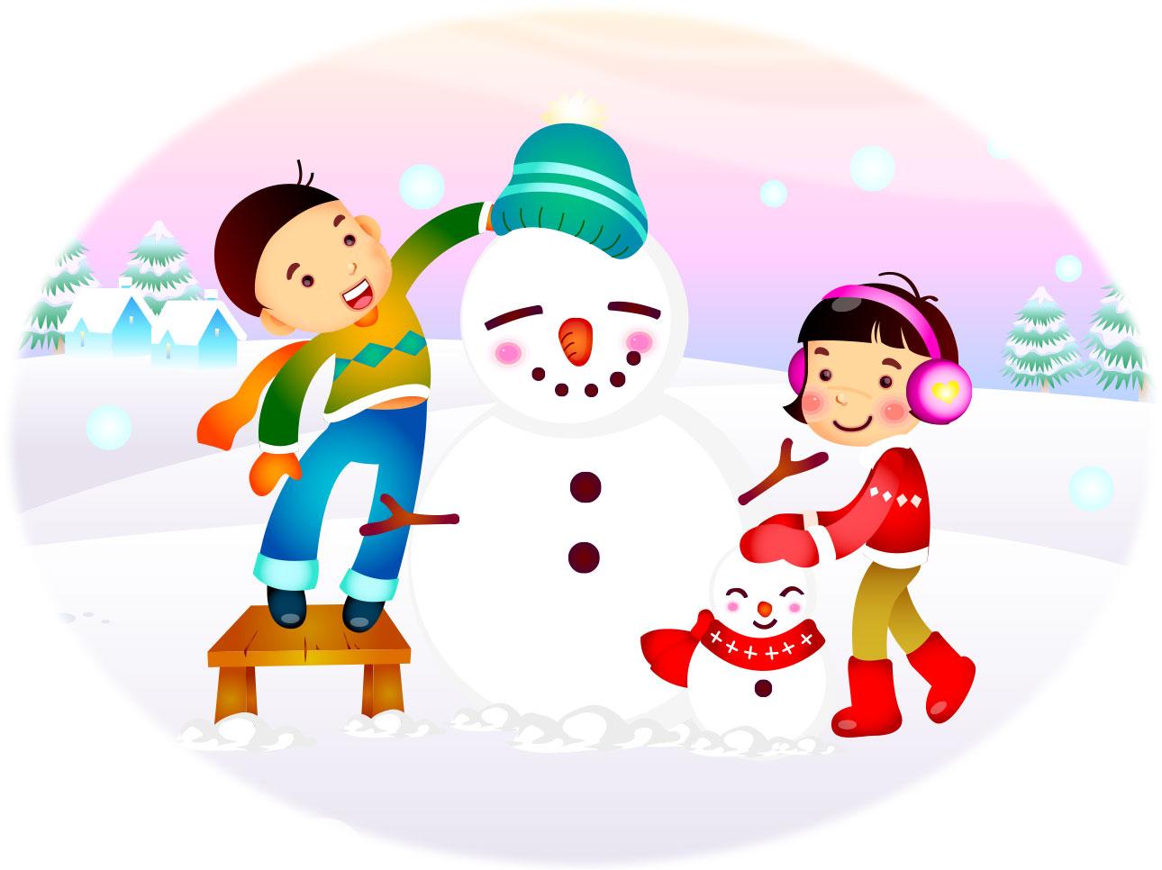 no.305「雪だるまを作る子供たち」 : 【フリー素材】高品質な