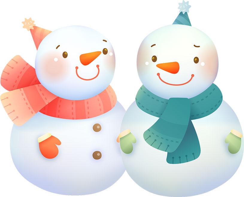 冬の画像サンプル-雪だるまカップル